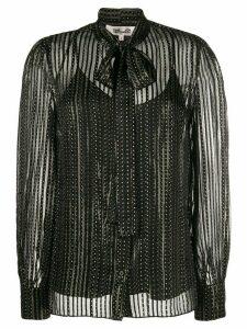 Diane von Furstenberg metalic stripe pussy bow blouse - Black