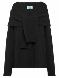 Prada tie-front relaxed jumper - Black