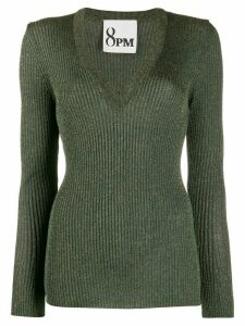 8pm metallic deep v-neck jumper - Green