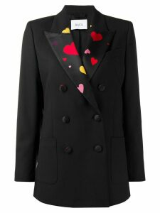 Racil satin-panelled blazer - Black