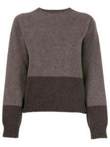 YMC two-tone crew neck sweater - Brown