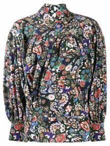 Isabel Marant floral print high neck blouse - Black