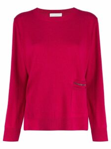 Fabiana Filippi crew neck front pocket jumper - PINK