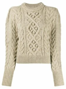 Isabel Marant Étoile cropped cable knit sweater - NEUTRALS