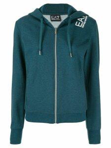 Ea7 Emporio Armani logo zipped drawstring hoodie - Green