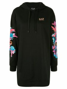 Ea7 Emporio Armani oversized logo drawsrting hoodie - Black