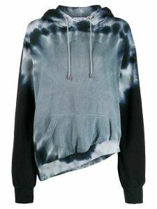 Collina Strada tie-dye asymmetric hem hoodie - Black