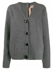 Nº21 back zip boxy cardigan - Grey