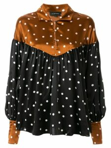 Lee Mathews polka dot balloon sleeve blouse - Brown