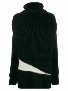 Ann Demeulemeester contrast roll-neck sweater - Black