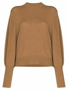 Lee Mathews Balloon Sleeve Cashmere Knit Sweater - Brown