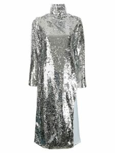 Bouguessa long sequinned tunic top - SILVER