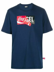 Diesel Recycled fabric T-Shirt with doublelogo print - Blue
