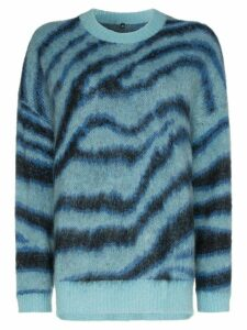 R13 oversized intarsia-knit jumper - Blue