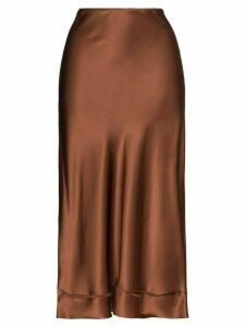 Lee Mathews Stella silk midi skirt - Brown
