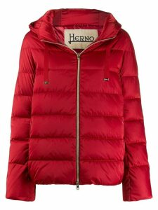 Herno zipped hooded puffer jacket - Red