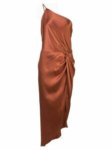 Michelle Mason twist-knot midi dress - Brown