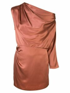 Michelle Mason one-sleeve draped mini dress - Brown