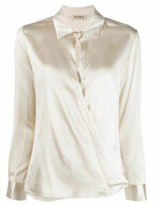 Blanca Vita wrap front shirt - NEUTRALS
