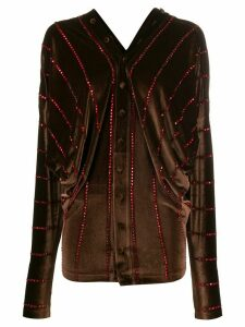 Y/Project rhinestone-embellished velvet shirt - Brown