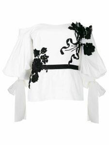 Marchesa floral appliqué blouse - White