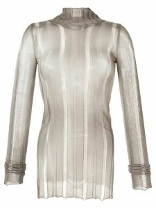 Yang Li distressed knit sheer top - Grey