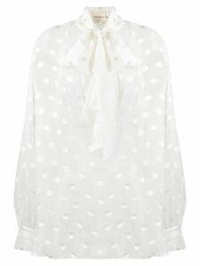 Alexandre Vauthier pussy-bow polka dot blouse - White