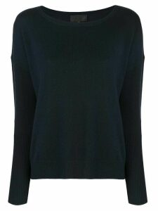 Nili Lotan square neck fine knit sweater - Blue