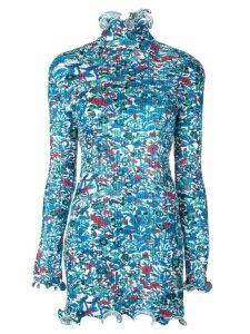 Givenchy floral print frilled ribbed top - Blue