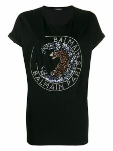 Balmain tiger embroidery oversized T-shirt - Black