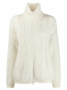 Brunello Cucinelli sequin embroidered cardigan - White