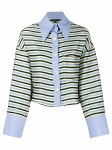 Jejia striped cropped shirt - Blue