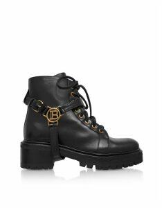 Balmain Designer Shoes, Black Leather Ranger Boots W/Medallion