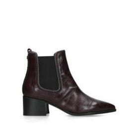 Carvela Spire - Wine Croc Print Embellished Block Heel Ankle Boots