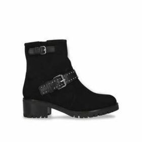 Carvela Comfort Reality - Black Studded Block Heel Ankle Boots