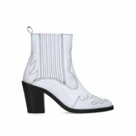 Kurt Geiger London Damen - White Block Heel Western Boots