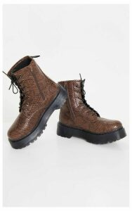 Brown Snake Wide Fit Chunky Sole Lace Up Ankle Boot, Snake Print