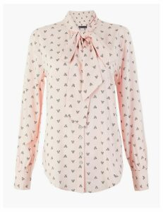 M&S Collection Moth Print Long Sleeve Blouse