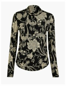 M&S Collection Floral Print Fitted Long Sleeve Top