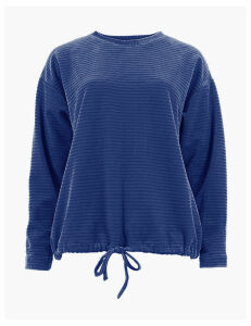 M&S Collection Cotton Rich Velour Textured Sweatshirt