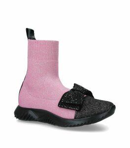 Fabric Bow Sock Sneakers
