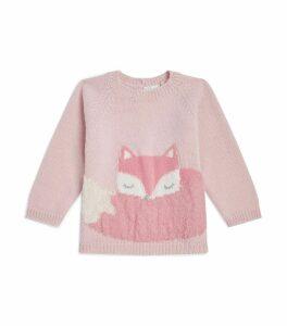 Fox Motif Wool Sweater