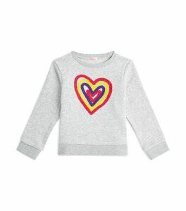Rainbow Heart Appliqué Sweatshirt
