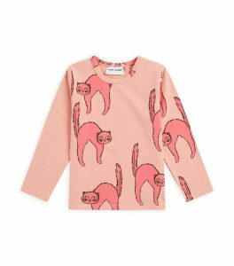 Cat Print Long-Sleeved T-Shirt