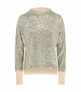 Sequin-Embroidered Hooded Sweater