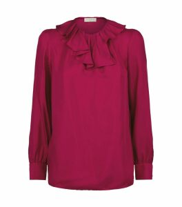 Silk Ruffle-Trim Blouse