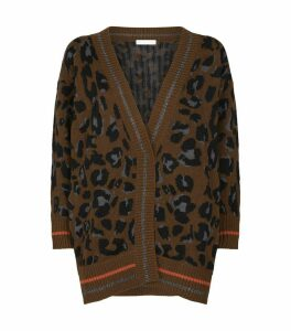 Leopard Lurex Trim Cardigan