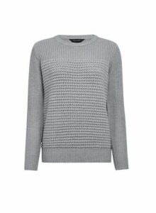 Womens Grey Textured Panel Jumper, Grey