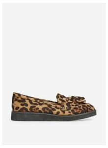 Womens Brown Leopard Print 'Lorenza' Loafers- Animal, Animal