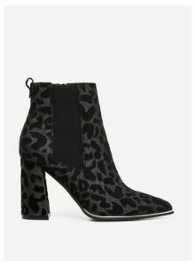 Womens Black 'Amerie' Leopard Print Chelsea Boots- Multi Colour, Multi Colour